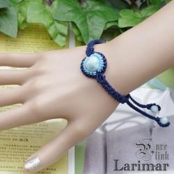 愛と平和の石『ラリマー』ハンドメイドマクラメ編ブレスレット