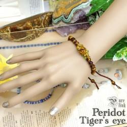 1輪の薔薇『タイガーアイ』ペリドット編みブレスレット