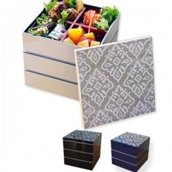 紀州漆器 重箱 おしゃれでかわいい 角三段重箱 北欧柄