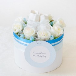 【送料無料】 出産祝い おむつケーキ≪BOY≫