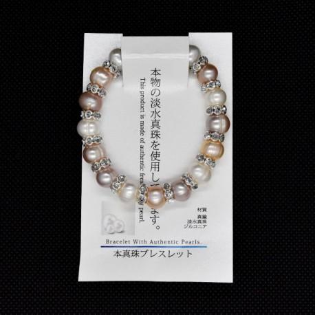 【本真珠ブレスレット】パールロンデルブレス(パープル)