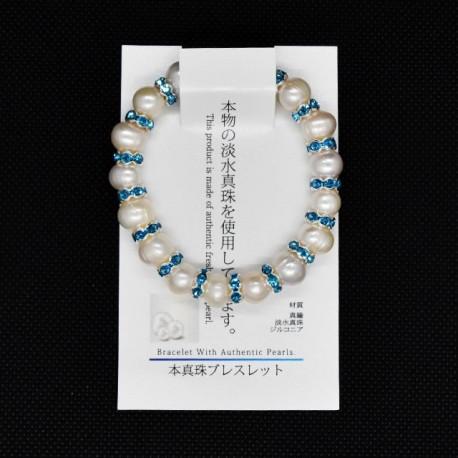 【本真珠ブレスレット】パールロンデルブレス(白×水色)