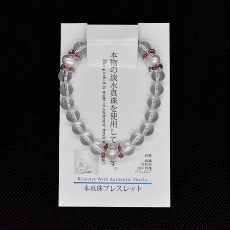 【本真珠ブレスレット】水晶パールブレス