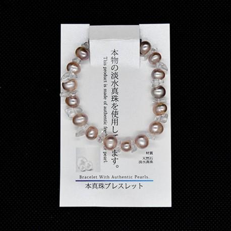 【本真珠ブレスレット】水晶サザレブレス(パープル)