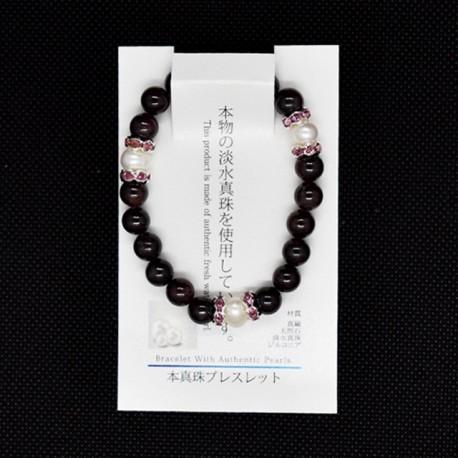 【本真珠ブレスレット】ガーネットブレス