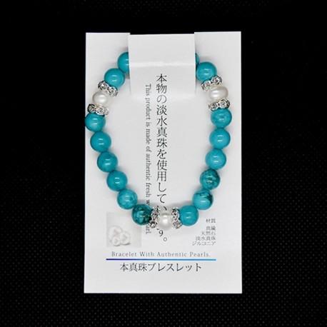 【本真珠ブレスレット】ターコイズブレス