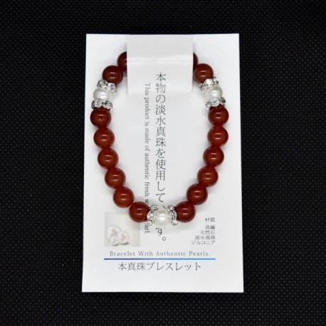 【本真珠ブレスレット】カーネリアンブレス