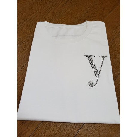 YEG ラインストーンTシャツ ホワイト サイズL (ラインストーン・シルバー)