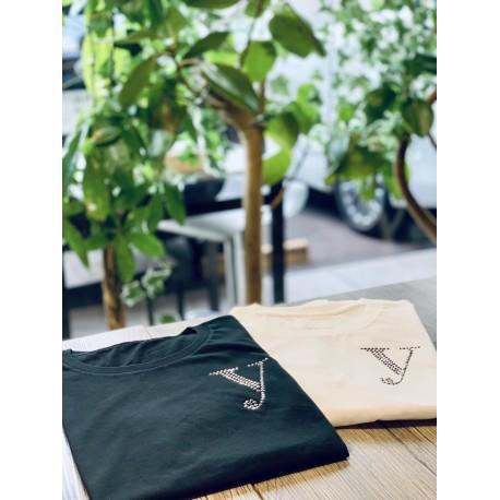YEG ラインストーンTシャツ ホワイト  Sサイズ (ラインストーン・ゴールド)