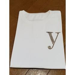 YEG ラインストーンTシャツ ホワイト  Mサイズ (ラインストーン・ゴールド)