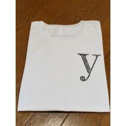 YEG ラインストーンTシャツ ホワイト  Lサイズ (ラインストーン・ブラック)