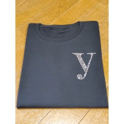 YEG ラインストーンTシャツ ブラック  Sサイズ (ラインストーン・シルバー)