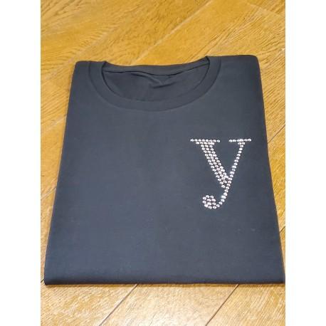 YEG ラインストーンTシャツ ブラック  Lサイズ (ラインストーン・シルバー)