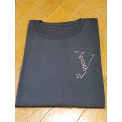 YEG ラインストーンTシャツ ブラック  Lサイズ (ラインストーン・ブラック)