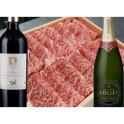 すき焼き(黒毛和牛リブ)×ボルドー特級ワイン・シャンパーニュ1級セット