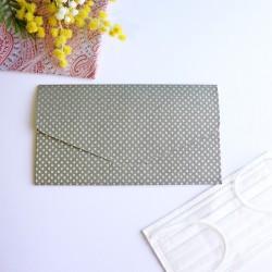 越前和紙の抗菌マスクケース【和ごころ】 行儀紋 灰色 封筒タイプ
