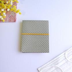 越前和紙の抗菌マスクケース【和ごころ】 行儀紋 灰色 2つ折りタイプ