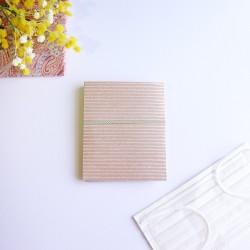 越前和紙の抗菌マスクケース【和ごころ】 石田縞 小豆 2つ折りタイプ