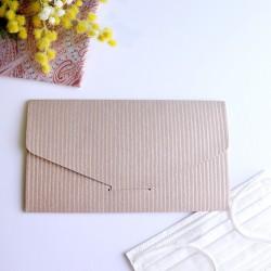 越前和紙の抗菌マスクケース【和ごころ】 石田縞 小豆 封筒タイプ