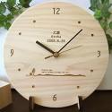 ★バースデー 木製丸型時計【イラスト入り】★表面のみ30文字まで彫刻OK