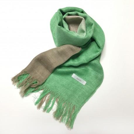 国産シルク100%手描き染めストール 緑&銀煤竹